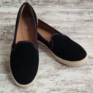 9 Wide Clarks Suede Leather Espadrille Loafer
